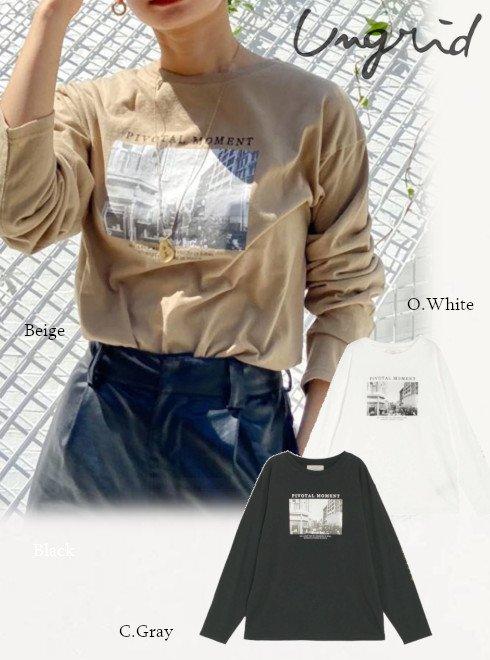 Ungrid (アングリッド)<br>フォトプリントロングスリーブTee  20秋冬【112052710601】Tシャツ 20fs