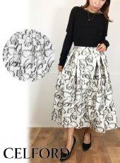 CELFORD (セルフォード)<br>オリジナルフラワーJQスカート  20秋冬.【CWFS205033】フレアスカート