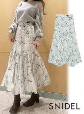 snidel (スナイデル)<br>プリントプリーツスカート  20秋冬.【SWFS205075】ロング・マキシスカート