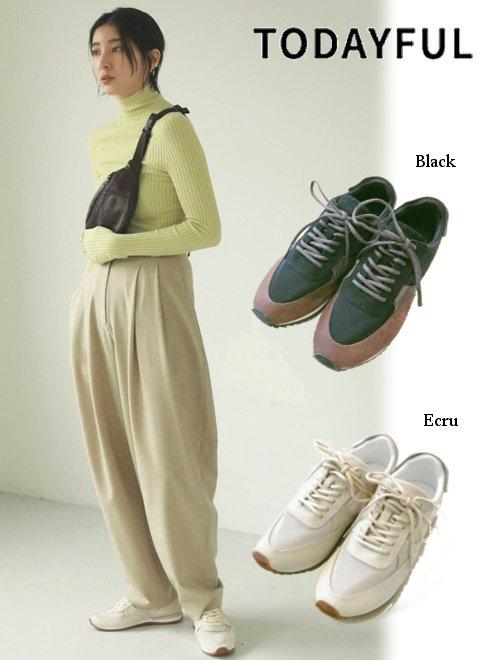 TODAYFUL (トゥデイフル)<br>'Leather x Mesh Sneakers'  21春夏予約2【12111001】スニーカー 入荷時期:5月