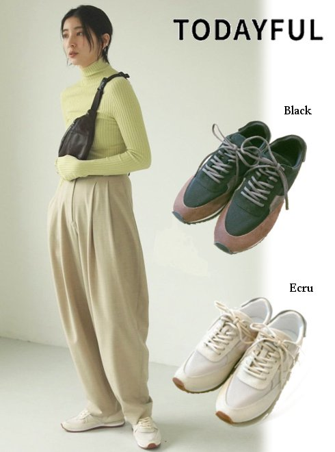 TODAYFUL (トゥデイフル)<br>Leather x Mesh Sneakers  21春夏2【12111001】スニーカー