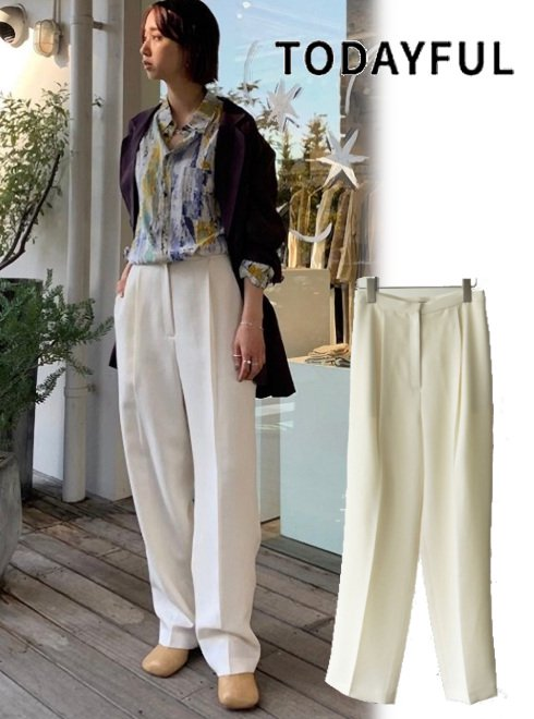 TODAYFUL (トゥデイフル)<br>Pique Tuck Trousers  21春夏【12110707】パンツ