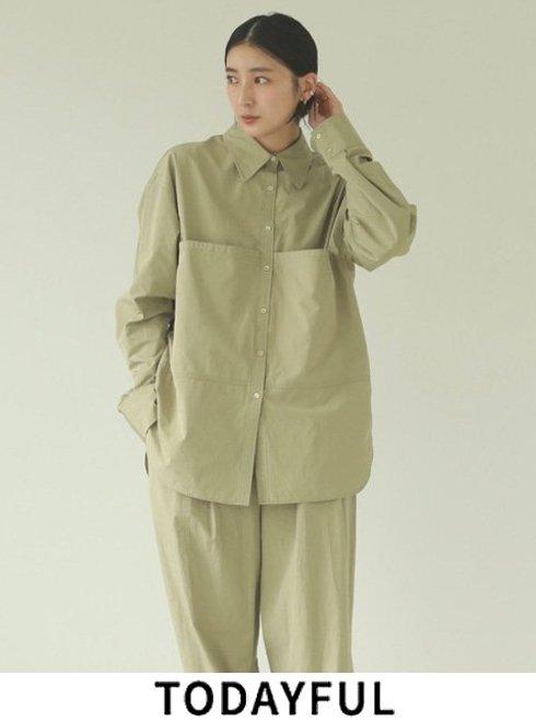 TODAYFUL (トゥデイフル)<br>Taffeta Pocket Shirts  21秋冬【12110410】シャツ・ブラウス