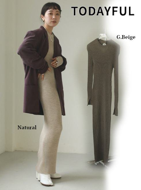 TODAYFUL (トゥデイフル)<br>Slim Knit Dress  21春夏予約【12110314】マキシワンピース 入荷予定 : 2月中旬〜
