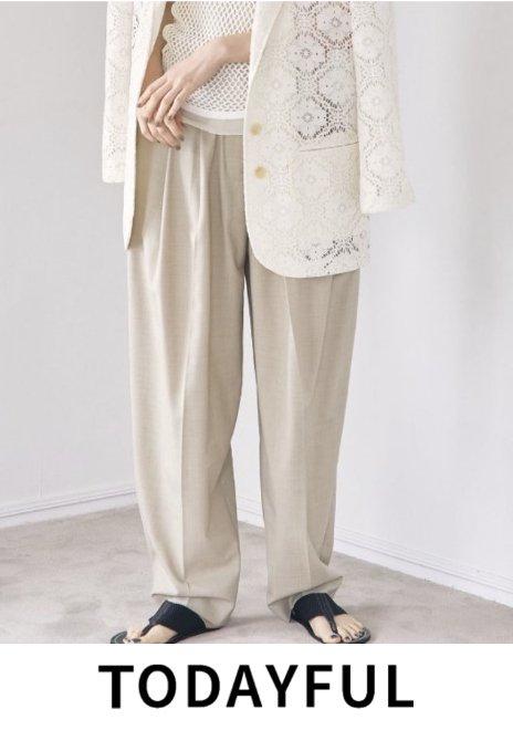 TODAYFUL (トゥデイフル)<br>Highwaist Tuck Trousers  21春夏予約【12110703】パンツ 入荷予定 : NRL 3月中旬〜  春受注会