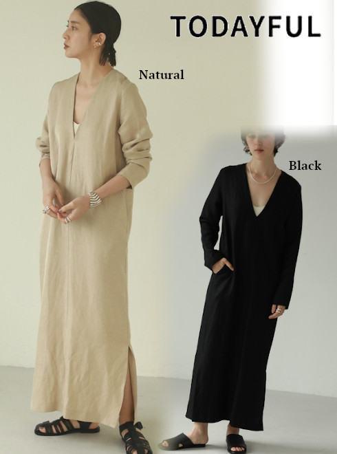 TODAYFUL (トゥデイフル)<br>Vneck Linen Dress  21春夏【12110306】マキシワンピース  春受注会