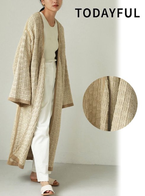 TODAYFUL (トゥデイフル)<br>Knit Jacquard Gown  21春夏【12110003】ニットアウター   春受注会