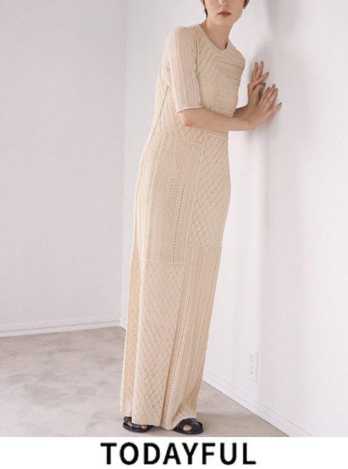 TODAYFUL (トゥデイフル)<br>Patchwork Knit Dress  21春夏【12110302】マキシワンピース   春受注会