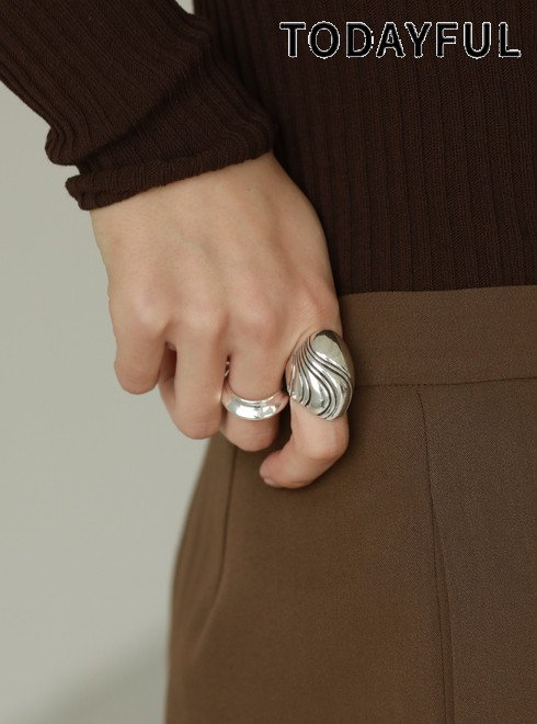 TODAYFUL (トゥデイフル)<br>Volume Oval Ring(Silver925)  21春夏予約【12110902】リング 入荷予定 : 3月中旬〜  春受注会