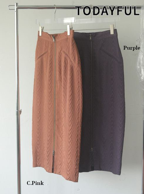 TODAYFUL (トゥデイフル)<br>Jacquard Zip Skirt  21春夏予約【12110802】タイトスカート 入荷予定 : 3月中旬〜