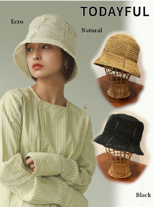 TODAYFUL (トゥデイフル)<br>Abaca Bucket Hat  21春夏【12111023】帽子