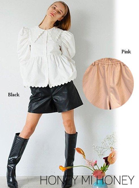 Honey mi Honey (ハニーミーハニー)<br>leather high waist short pants  21春夏【21S-TA-02】ショートパンツ