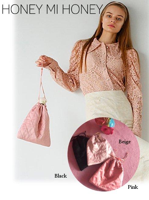 Honey mi Honey (ハニーミーハニー)<br>satin drawstring bag  21春夏【21S-TA-06】ハンド・ショルダーバッグ 21gw