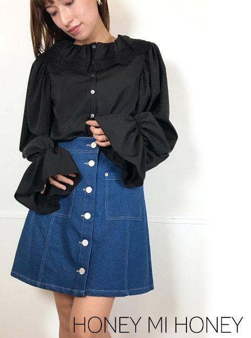 Honey mi Honey (ハニーミーハニー)<br>lace collar chiffon blouse  21春夏予約【21S-TA-07】シャツ・ブラウス 入荷予定 : 1月中旬〜