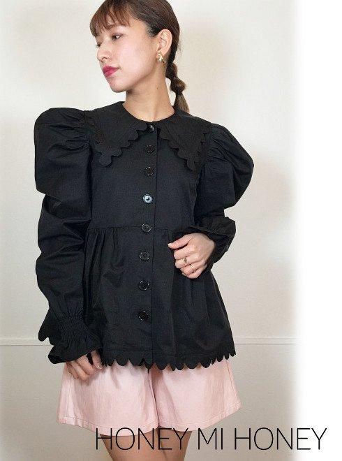 Honey mi Honey (ハニーミーハニー)<br>scallop collar blouse jacket  21春夏【21S-TA-12】ジャケット 21gw