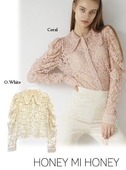Honey mi Honey (ハニーミーハニー)<br>lace puffsleeve blouse  21春夏【21S-TA-16】シャツ・ブラウス