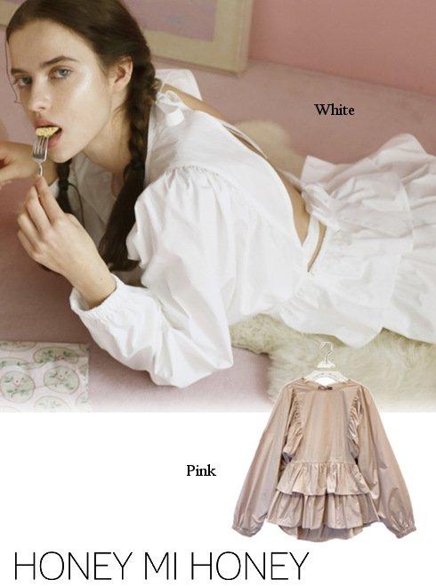 Honey mi Honey (ハニーミーハニー)<br>backribbon gather blouse  21春夏【21S-TA-20】シャツ・ブラウス