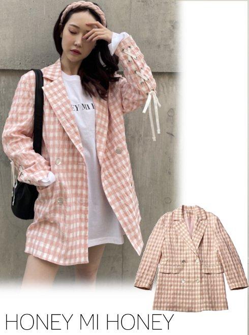Honey mi Honey (ハニーミーハニー)<br>ginghamcheck oversize jacket  21春夏【21S-TA-21】ジャケット