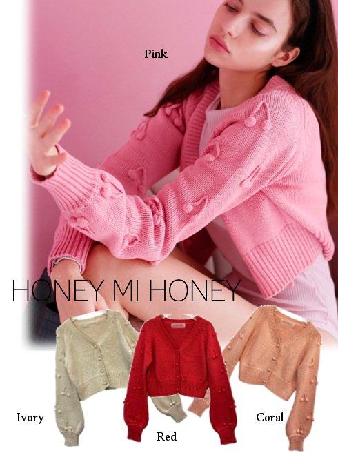Honey mi Honey (ハニーミーハニー)<br>cherry cardigan  21春夏予約【21S-SW-01】カーディガン 入荷予定 : 3月中旬〜