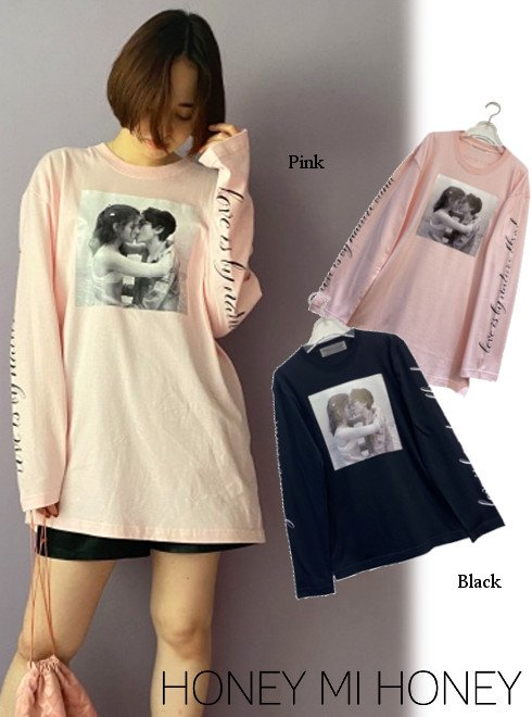 Honey mi Honey (ハニーミーハニー)<br>photo print long T-shirt  21春夏【21S-VG-04】Tシャツ