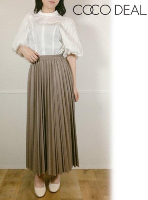 COCODEAL (ココディール)<br>エコレザープリーツスカート  21春夏【71117541】ロング・マキシスカート
