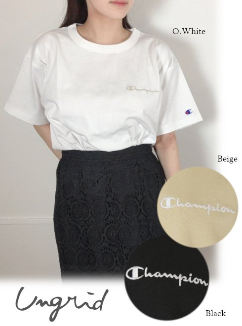 Ungrid (アングリッド)<br>Champion別注 ビックシルエットショートTee  21春夏【112112726801】Tシャツ