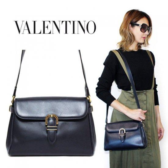 VALENTINO ヴァレンティノ ヴィンテージ<br>レザーショルダーバッグ ネイビー 【vintage by RiLish】 ランクBA