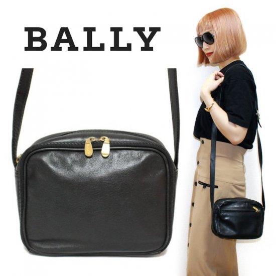 BALLY バリー ヴィンテージ<br>レザーショルダーバッグ ブラック 【vintage by RiLish】 ランクBA