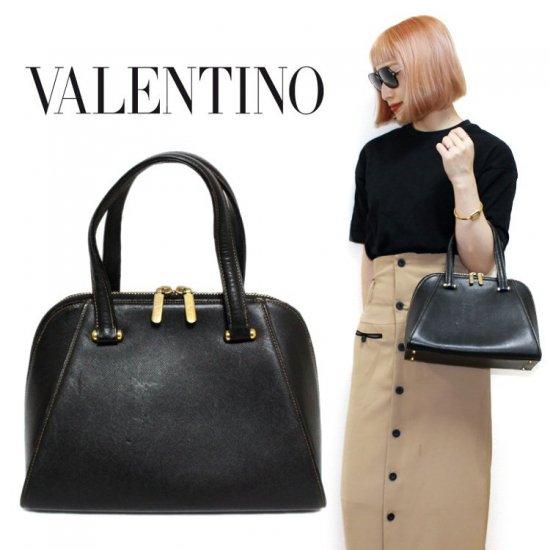 VALENTINO ヴァレンティノ ヴィンテージ<br>ボリード型レザーハンドバッグ 【vintage by RiLish】 ランクAB
