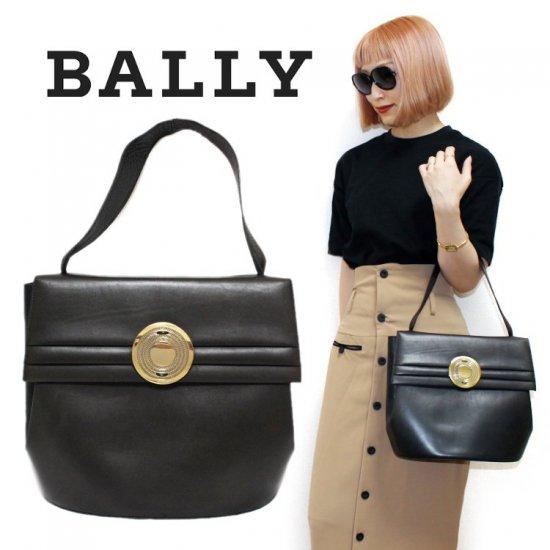 BALLY バリー ヴィンテージ<br>サークル金具レザーハンドバッグ 【vintage by RiLish】 ランクBA