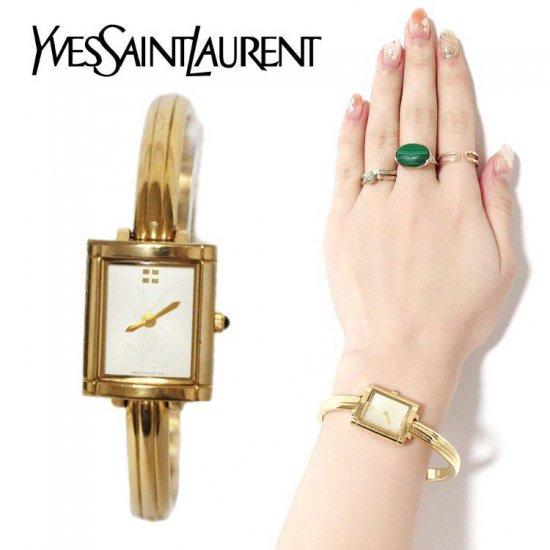 YSL イヴサンローラン ヴィンテージ<br>スクエアロゴバングルQZ腕時計 【vintage by RiLish】 ランクAB
