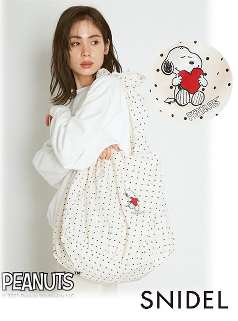 snidel (スナイデル)<br>SNOOPYエコバッグ  21春夏予約【SWGB211611】トートバッグ 入荷予定 : 3月上旬〜