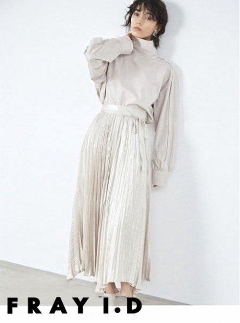 FRAY I.D (フレイアイディー)<br>割繊チンツプリーツスカート  21春夏【FWFS211046】フレアスカート