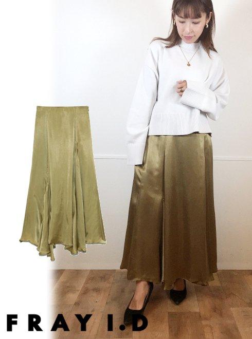 FRAY I.D (フレイアイディー)<br>マチ付きキュプラサテンスカート  21春夏【FWFS211047】フレアスカート