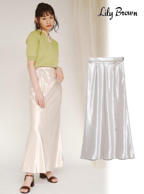 Lily Brown (リリーブラウン)<br>シャイニーロングスカート  21春夏予約【LWFS211078】ロング・マキシスカート 入荷予定 : 2月上旬〜