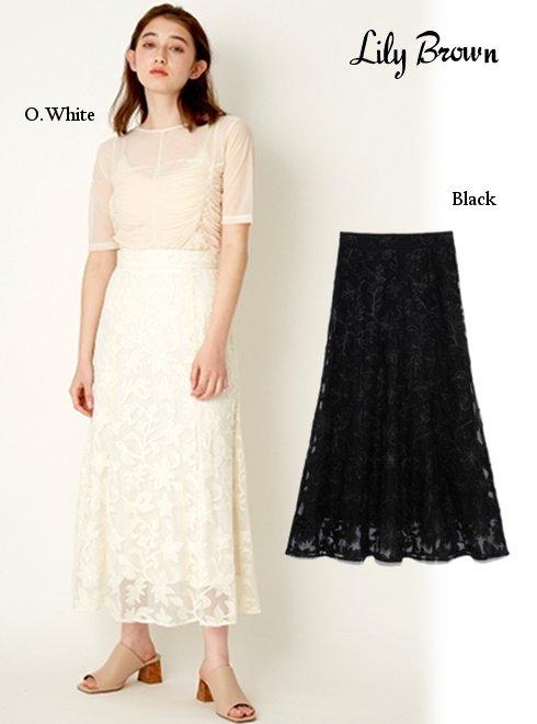 Lily Brown (リリーブラウン)<br>フラワーチュール刺繍スカート  21春夏【LWFS211075】フレアスカート