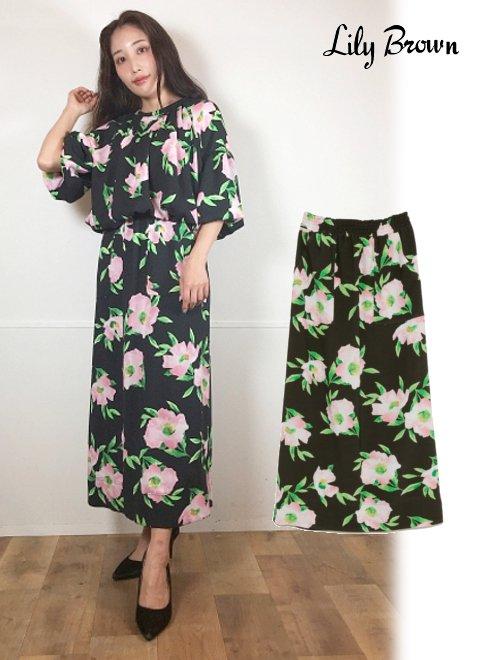 Lily Brown (リリーブラウン)<br>フローラルIラインスカート  21春夏【LWFS211067】フレアスカート 21gw