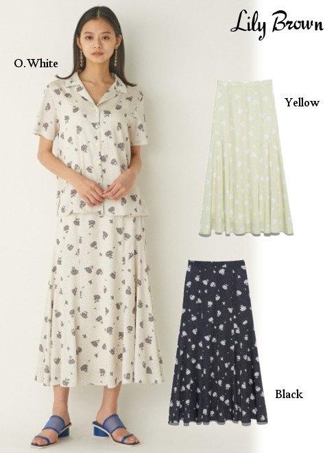 Lily Brown (リリーブラウン)<br>ドットフラワースカート  21春夏【LWFS211059】フレアスカート