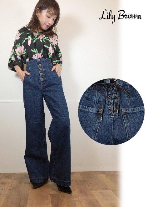 Lily Brown (リリーブラウン)<br>バックレースアップワイドパンツ  21春夏予約【LWFP211060】パンツ 入荷予定 : 2月上旬〜