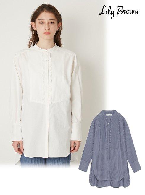 Lily Brown (リリーブラウン)<br>フリルビブヨークシャツ  21春夏【LWFT211131】シャツ・ブラウス