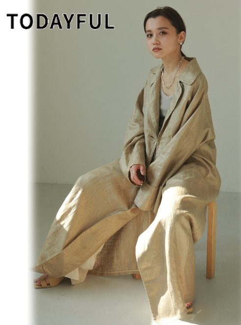 TODAYFUL (トゥデイフル)<br>Linen Trench Coat  21春夏.予約【12110007】トレンチコート 入荷予定 : 4月中旬〜