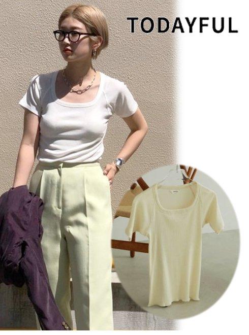 TODAYFUL (トゥデイフル)<br>Soft Rib T-Shirts  2021春夏.予約【12110625】Tシャツ 入荷予定 : 4月中旬〜