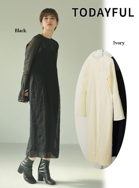 TODAYFUL (トゥデイフル)<br>2way Sheer Dress  21春夏.予約【12110322】マキシワンピース 入荷予定 : 4月中旬〜