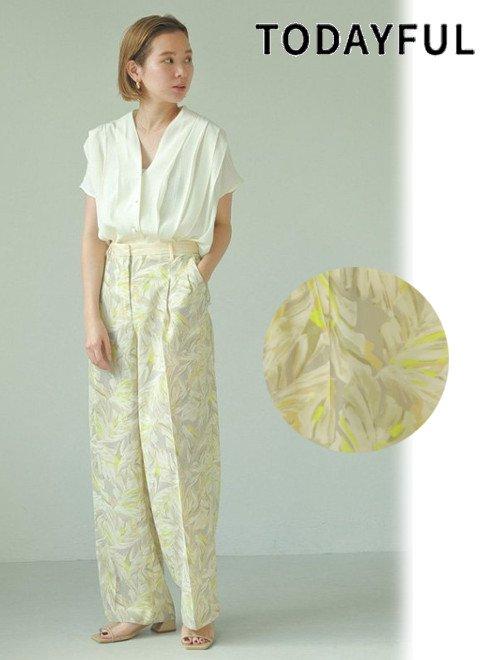 TODAYFUL (トゥデイフル)<br>Leaf Tuck Trousers  21春夏.予約【12110711】パンツ 入荷予定 : 4月上旬〜