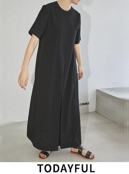 TODAYFUL (トゥデイフル)<br>'Halfsleeve Tuck Dress'  21春夏.予約【12110332】マキシワンピース 入荷予定 : NRL4月中旬 BLK5月中旬
