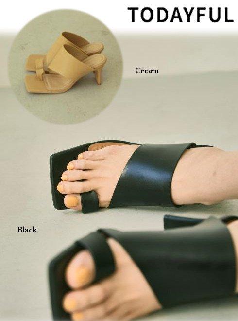 TODAYFUL (トゥデイフル)<br>Squaretoe Leather Sandals  21春夏.【12111039】サンダル