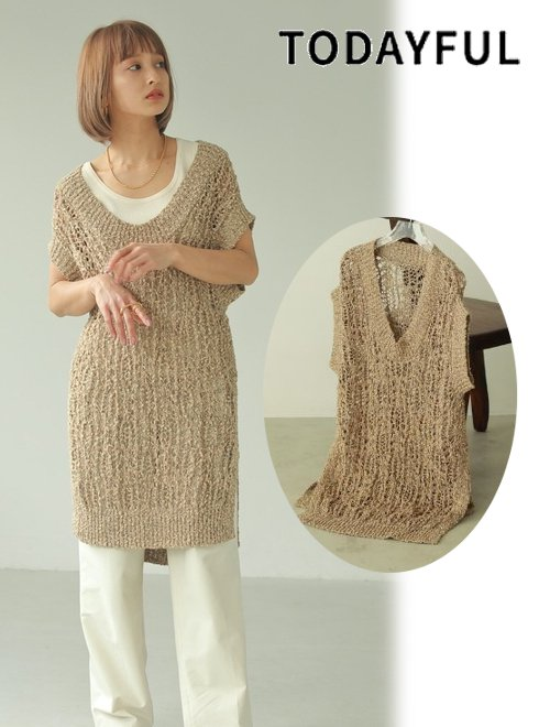 TODAYFUL (トゥデイフル)<br>Crochet Knit Vest  21春夏.予約【12110529】ニットトップス 入荷予定 : 5月中旬〜