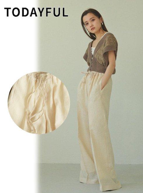TODAYFUL (トゥデイフル)<br>Linen Gather Pants  21春夏.予約【12110715】パンツ 入荷予定 : 5月中旬〜