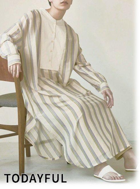 TODAYFUL (トゥデイフル)<br>Multistripe Silk Dress  2021春夏.予約【12110305】マキシワンピース 入荷予定 : 5月中旬〜