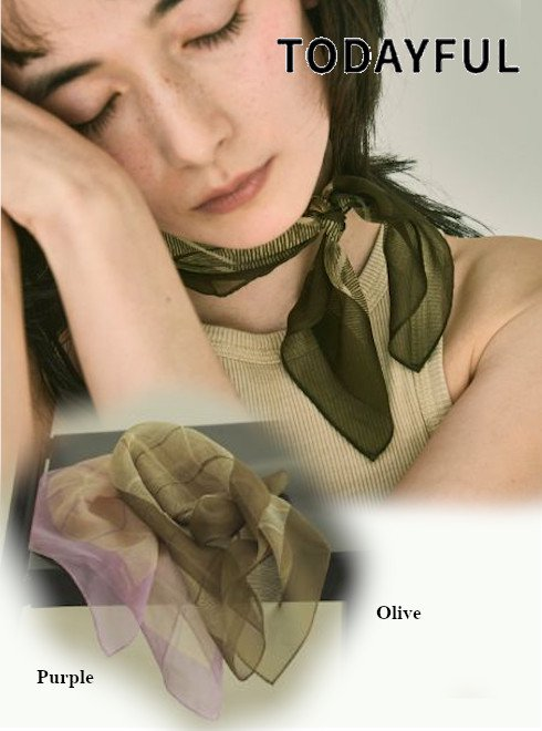 TODAYFUL (トゥデイフル)<br>Sheer Silk Scarf  21春夏.予約【12111053】マフラー・ストール 入荷予定 : 5月中旬〜